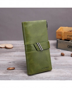X.D.BOLO Green Genuine Leather Zipper Hasp Wallet