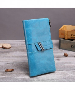 X.D.BOLO Blue Genuine Leather Zipper Hasp Wallet