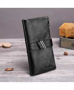 X.D.BOLO Black Genuine Leather Zipper Hasp Wallet