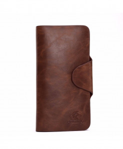 SEVJINK Brown Polyester Card Holder Genuine Leather Wallet
