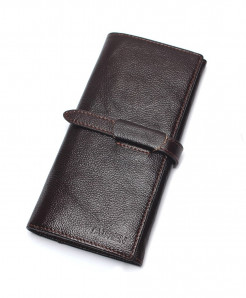 TAUREN Brown Genuine Leather Hasp Wallet