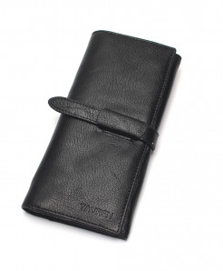 TAUREN Black Genuine Leather Hasp Wallet