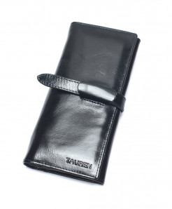 TAUREN Shine Black Genuine Leather Hasp Wallet