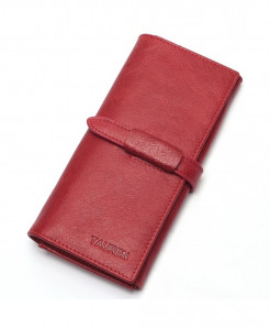 TAUREN Wine Red Genuine Leather Hasp Wallet