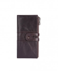 TINKIN Coffee Solid Genuine Leather Zipper Wallets