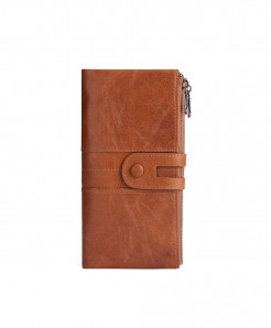 TINKIN Brown Solid Genuine Leather Zipper Wallets