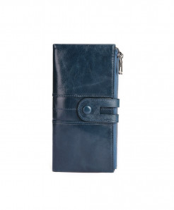 TINKIN Blue Solid Genuine Leather Zipper Wallets