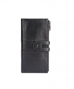 TINKIN Black Solid Genuine Leather Zipper Wallets