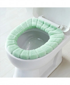 Green Single-Piece Set Warm Soft Washable Toilet Seat Cover