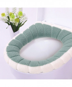 White Green Single-Piece Set Warm Soft Washable Toilet Seat Cover