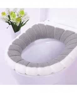 White Gray Single-Piece Set Warm Soft Washable Toilet Seat Cover