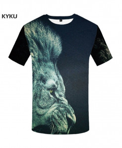KYKU Lion Canvas Polyester Animal Spandex 3d T Shirts Design 5