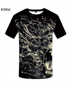 KYKU Lion Water Canvas Polyester Animal Spandex 3d T Shirts