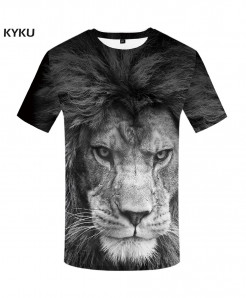KYKU Lion Black and White Canvas Polyester Spandex 3d T Shirts