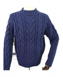 Xuanmay Blue Solid Thick  Winter Pullover Sweater