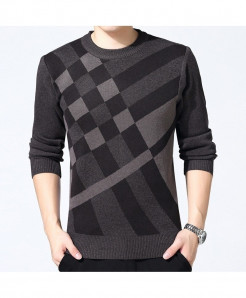 Veaker Gray Black Cross Lining Polyester Thick Sweater