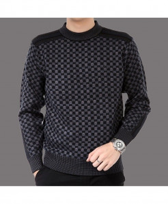Veaker Black Dotted Polyester Thick Sweater