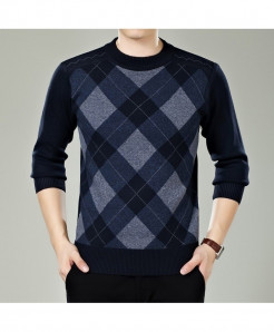 Veaker Black Blue Polyester Thick Sweater