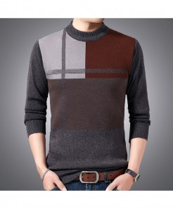 Maicawor Brown Polyester O Neck Wool Sweater