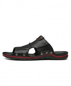 Clax Black Genuine Leather Slides Patchwork Slippers