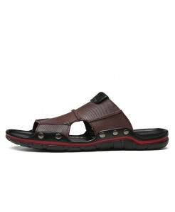 Clax Dark Brown Genuine Leather Slides Patchwork Slippers
