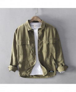Army Green Cotton Solid Broadcloth Shirts