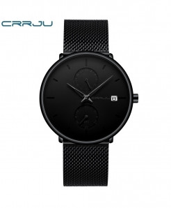 Crrju Black Alloy Stainless Steel Round Watch