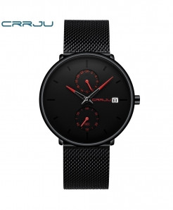 Crrju Red Alloy Stainless Steel Round Watch