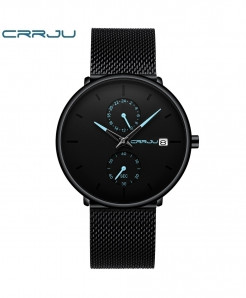Crrju Blue Alloy Stainless Steel Round Watch