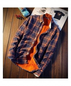 Nian Jeep Orange Polyester Cashmere Cotton Shirts