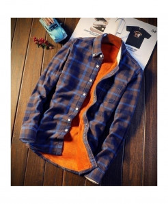 Nian Jeep Blue Polyester Cashmere Cotton Shirts