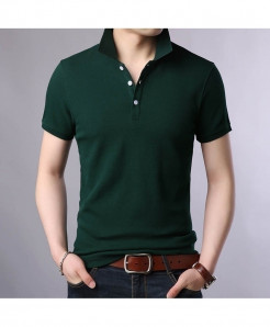 Langbeeyar Green Cotton Breathable Solid T Shirt