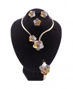 Ouhe Silver Yellow Flower Zinc Alloy Jewelry Set