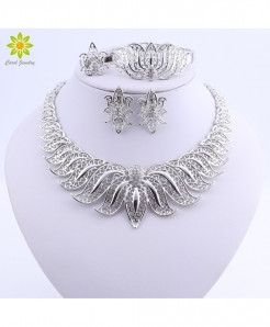 Ouhe Silver Zinc Alloy Crystal Jewelry Set