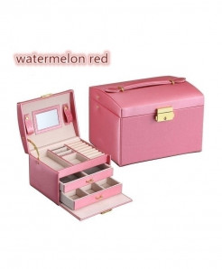 Watermelon Rrd Three Layers Leather Jewelry Organizer