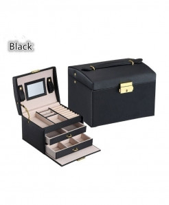 Black Three Layers Leather Jewelry Organizer