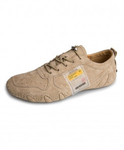 Eogc Khaki Rubber Breathable Genuine Leather Casual Shoes