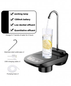 Junejour Black Plastic Rechargeable Water Dispenser