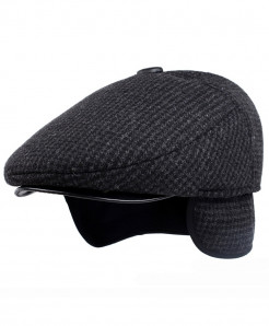 Aerlxemrbrae Gray Polyester Wool Solid Flat Cap