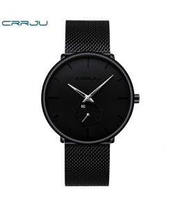 Crrju Black Silver Yellow Alloy Hardlex Round Stainless Steel Watch