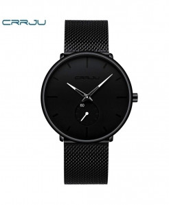 Crrju Black White Alloy Hardlex Round Stainless Steel Watch