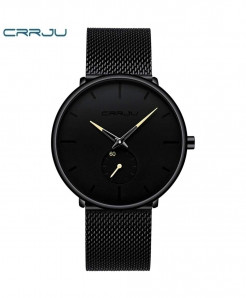 Crrju Black Yellow Alloy Hardlex Round Stainless Steel Watch