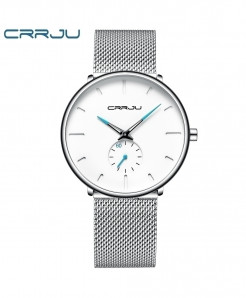 Crrju Silve White Alloy Hardlex Round Stainless Steel Watch