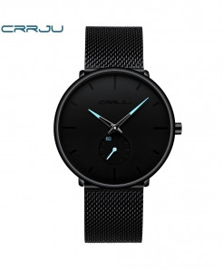 Crrju Black Light Blue Alloy Hardlex Round Stainless Steel Watch