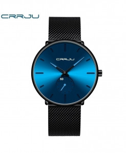 Crrju Blue Black Alloy Hardlex Round Stainless Steel Watch