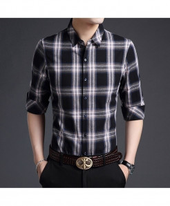Langbeeyar Black Plaid Cotton Shirt