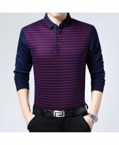 Zlittlelazy Purple Cotton Blends Thermal Striped Full Sleeve T-Shirt