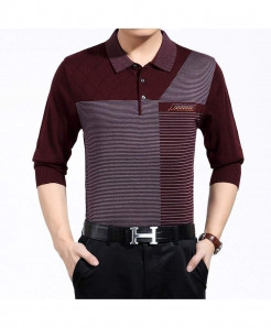 Zlittlelazy Burgundy Acrylic Breathable Full sleeve T-Shirt