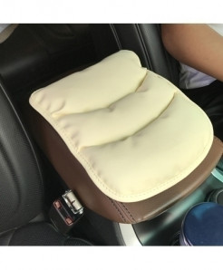 Beige Vacuum Cotton Pu Car Armrests Covers Pad