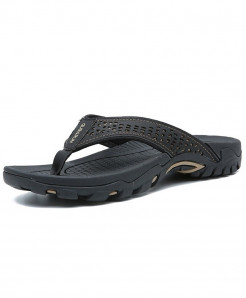 Merkmak Black Rubber PU Leather Slippers
